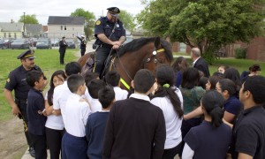 The Detroit Police Department's Mounted Unit Visits Clippert Academy